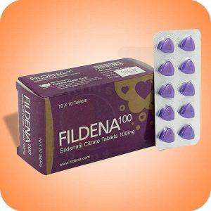 En la foto, un paquete con tabletas de Fildena de 100 mg.